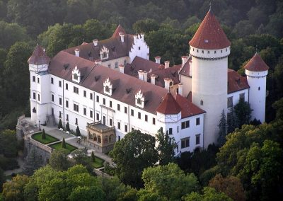 Aerial view on the monumental archduke's chateau Konopiště